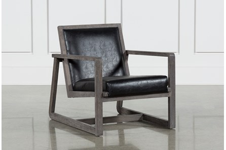 Leather Oak Wood Chair - Main