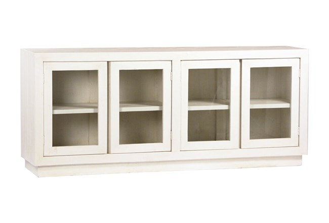 "White Solid Wood Glass Door 78"" Sideboard - 360"