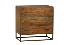 Burnt Oak Metal 3-Drawer Sideboard