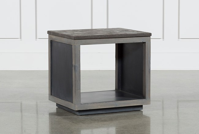 Recycled Pine Stone Side Table - 360
