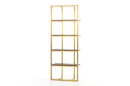 Oak Brnt Veneer/Polished Brass Bookshelf - Main