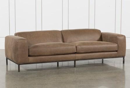 Top Grain Leather/Umber Wood Sofa