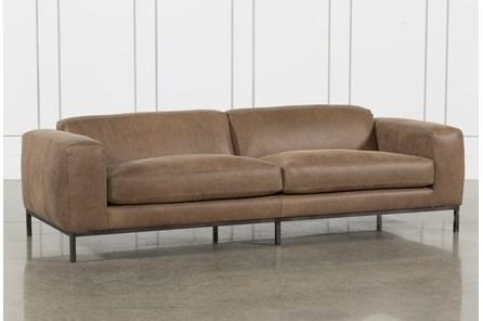 Top Grain Leather/Umber Wood Sofa - Main