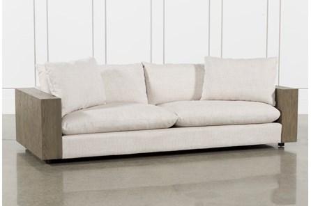 Heavy Linen Monument Grey 98 Inch Sofa