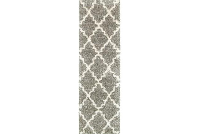 27X90 Rug-Beverly Shag Quatrefoil Grey - 360