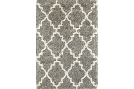 94X130 Rug-Beverly Shag Quatrefoil Grey - Main