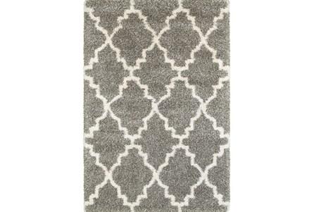 118X154 Rug-Beverly Shag Quatrefoil Grey