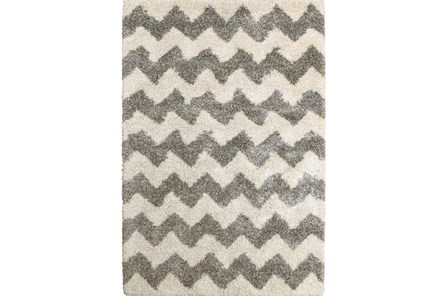 94X130 Rug-Beverly Shag Zig Zag Grey - Main