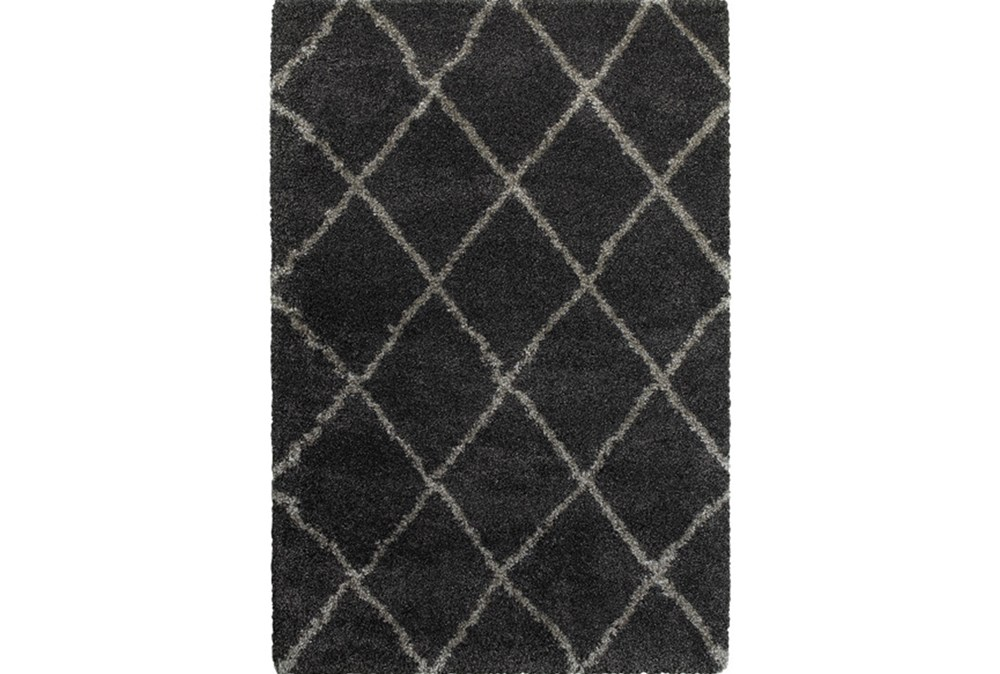 79X114 Rug-Beverly Shag Diamond Graphite
