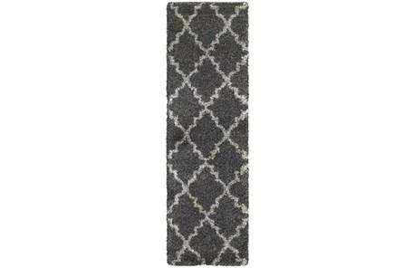 27X90 Rug-Beverly Shag Quatrefoil Graphite