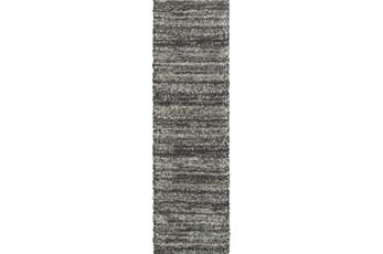 27X90 Rug-Beverly Shag Stripe Grey