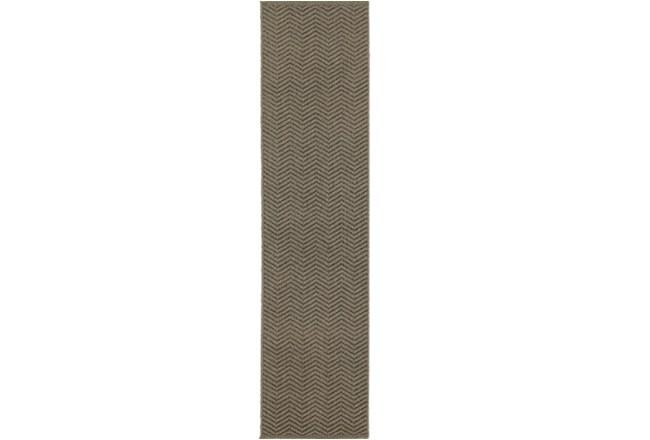 22X90 Outdoor Rug-Gemma Herringbone Grey - 360
