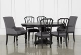 Caira Black 7 Piece Dining Set W/Arm Chairs & Diamond Back Chairs - Signature