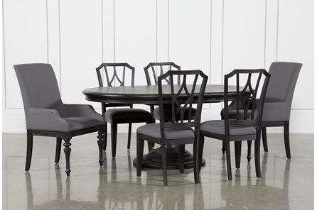 Caira Black 7 Piece Dining Set W/Arm Chairs & Diamond Back Chairs - Main