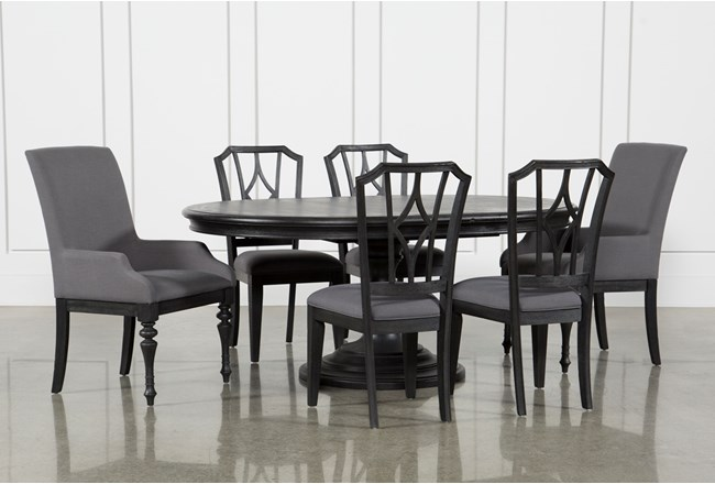 Caira Black 7 Piece Dining Set W Arm Chairs Diamond Back