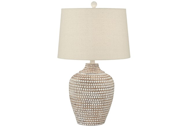 Table Lamp-Hammered White Wash - 360