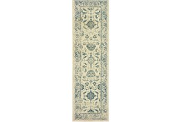 """2'3""""x7'5"""" Rug-Acanthus Traditional Grey/Navy"""