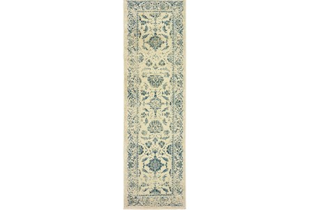 27X90 Rug-Acanthus Traditional Grey/Navy