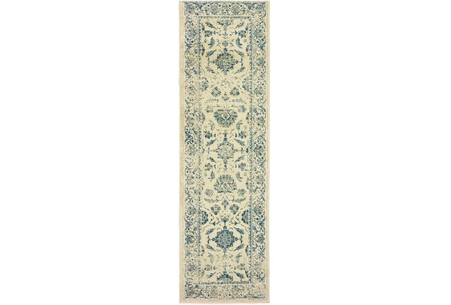 27X90 Rug-Acanthus Traditional Grey/Navy - 360