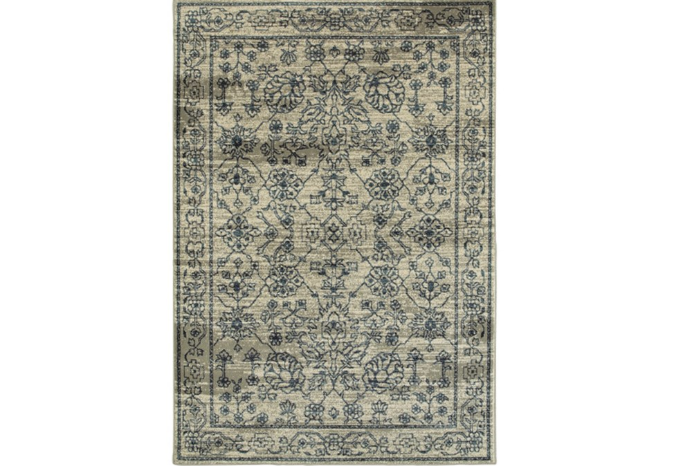 "3'8""x5'4"" Rug-Acanthus Traditional Grey/Navy"