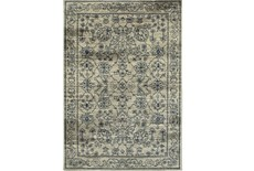 "6'6""x9'5"" Rug-Acanthus Traditional Grey/Navy"