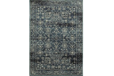 """1'9""""x3' Rug-Acanthus Traditional Navy"""