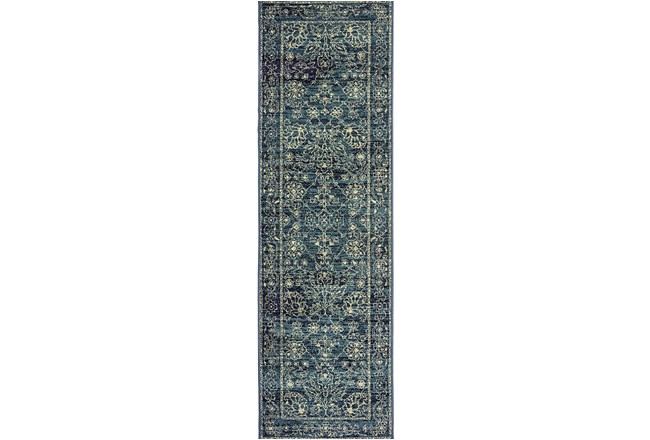 """2'3""""x7'5"""" Rug-Acanthus Traditional Navy - 360"""