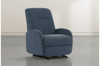 Franco III Denim Fabric Power Wallaway Recliner
