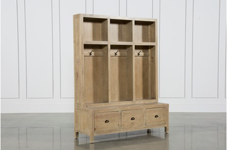 Pine Wood 3-Drawer Entry Way Bench - Main