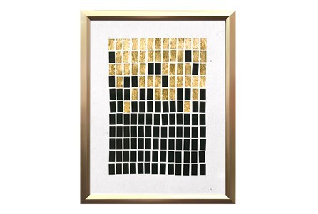 Picture-Black & Gold Brick Collage II 14X18