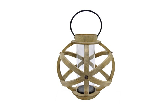 15 Inch Light Wood Lantern - 360