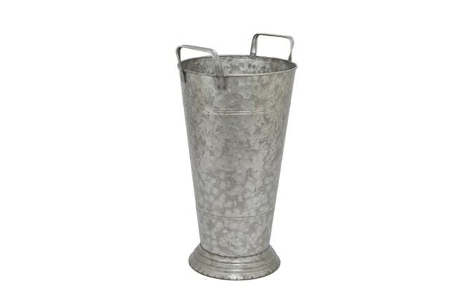 Grey Galvanized Metal Planter - 360