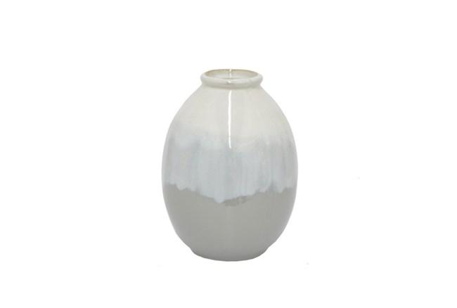 8 Inch Grey Ceramic Vase - 360
