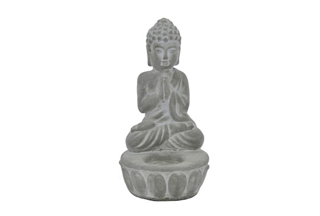 8 Inch Cement Buddha With Candleholder - 360
