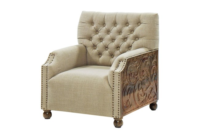 Tufted Hand Carved Chair With Bun Feet - 360