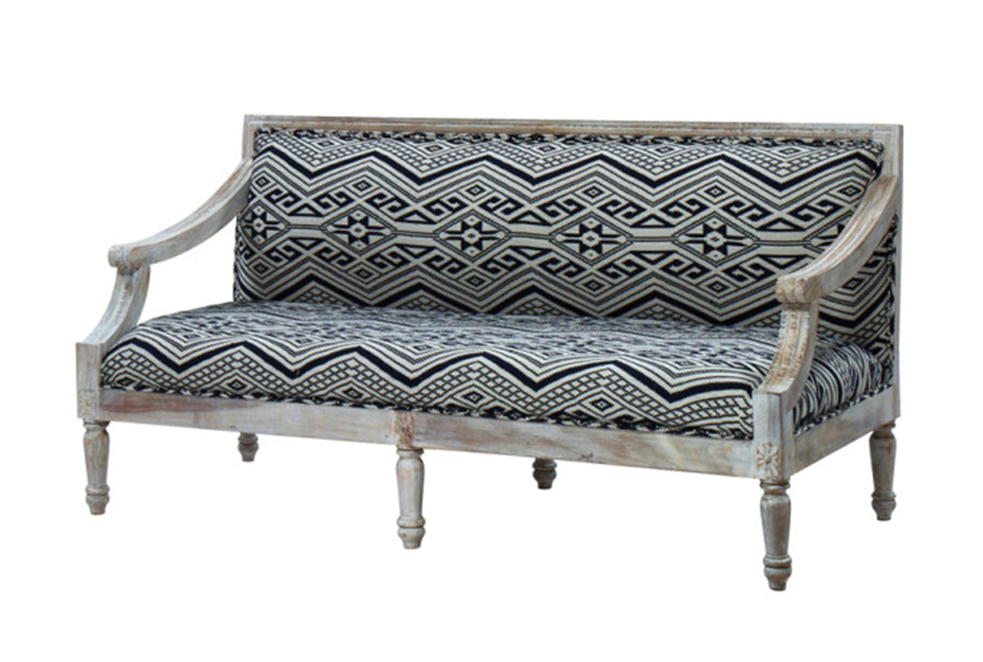 Hand Carved White Wash Sofa