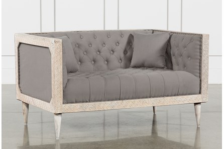 Oversized Grey Tufted Chair With White Wash - Main