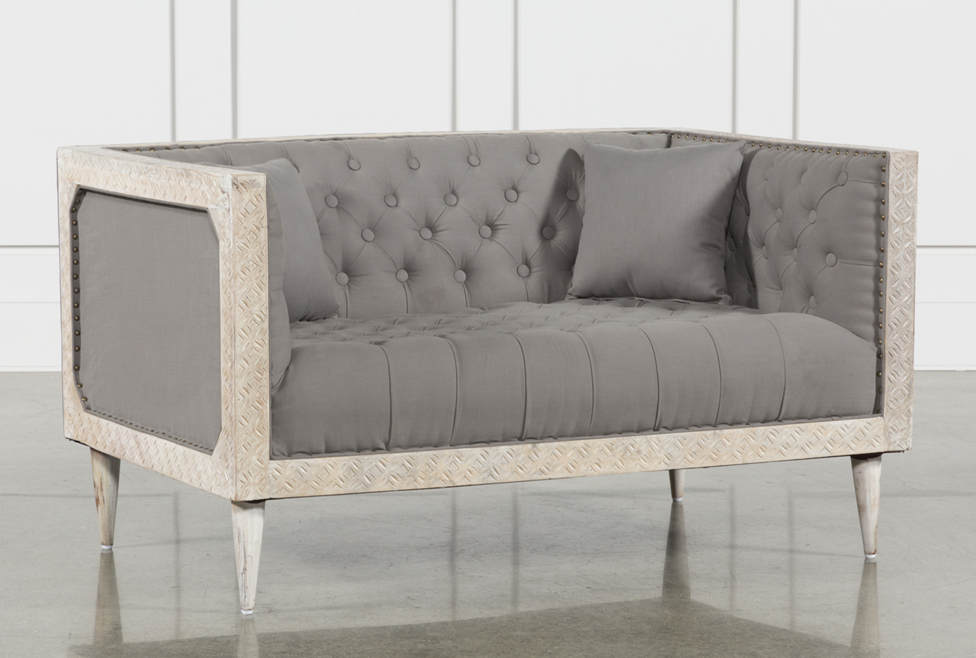 Gentil Oversized Grey Tufted Chair With White Wash   360 Elements