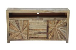 "Natural Wood Starburst 65"" Tv Stand"