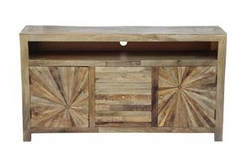 "Natural Wood Starburst 65"" Tv Stand"
