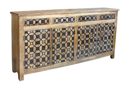4-Door/4-Drawer Metal Inserts Sideboard