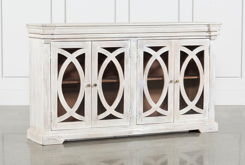 """White Wash 4-Door 70"""" Sideboard"""