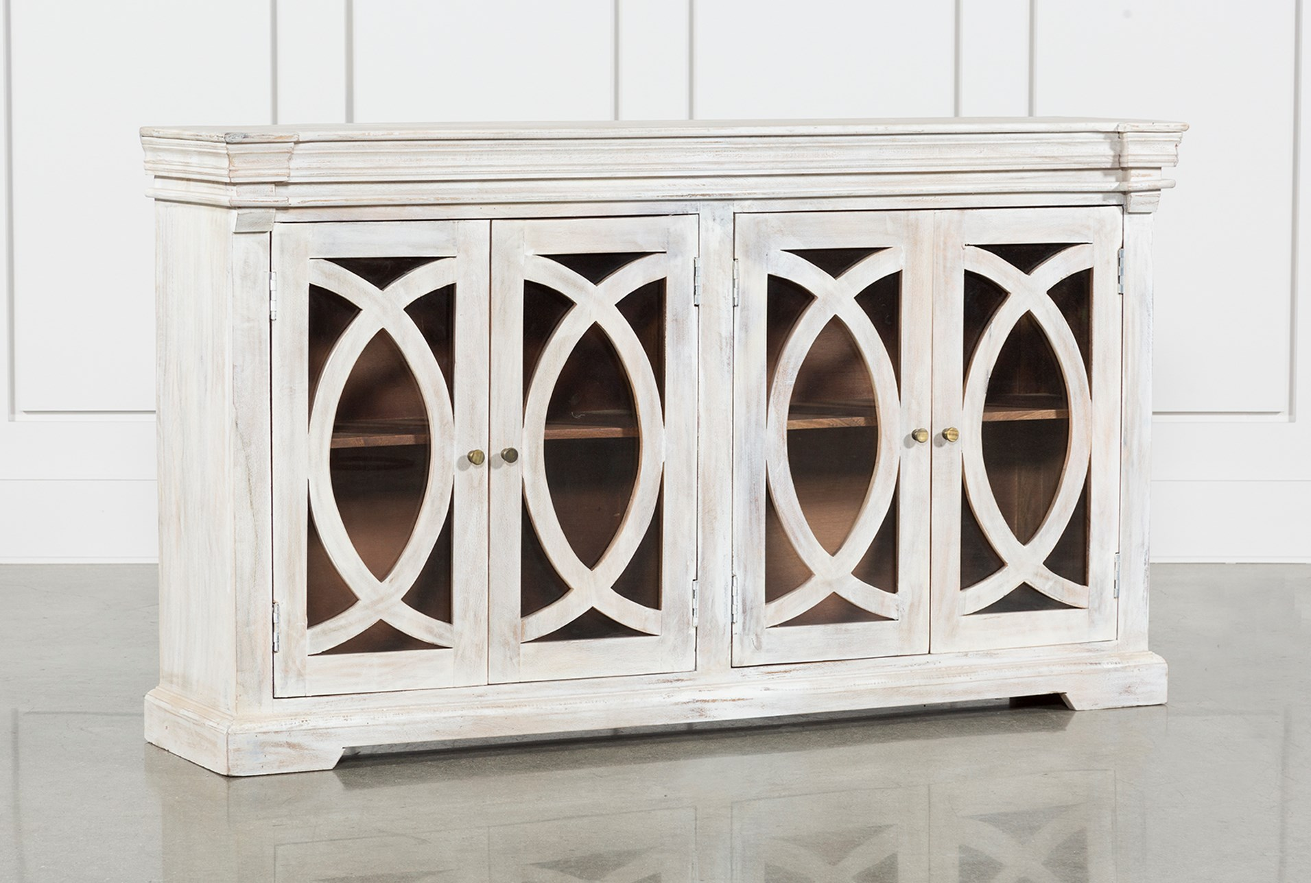 White Wash 4 Door Sideboard Living Spaces