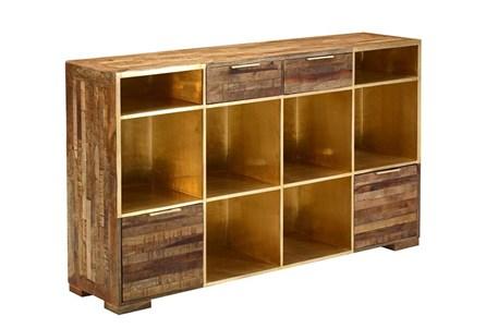 Open Shelf Brass 4-Drawer Sideboard