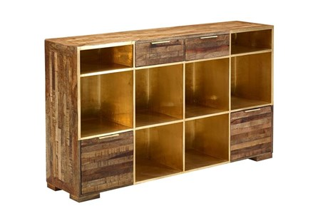 Open Shelf Brass 4-Drawer Sideboard