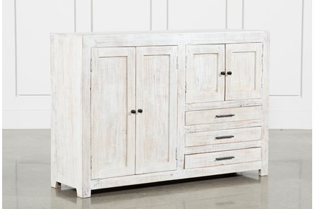 4-Door-3-Drawer White Wash Sideboard
