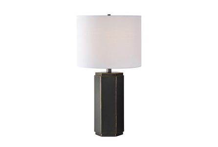 Table Lamp-Black & Brass Hexagon