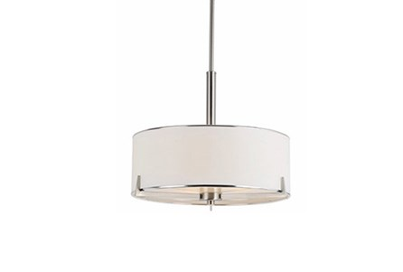 Pendant-Nickel And Linen Shade Single