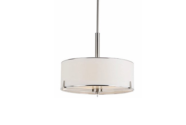 Pendant-Nickel And Linen Shade Single - 360