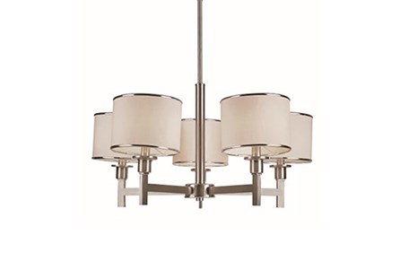 Chandelier-Nickel And Linen Shade 5-Light